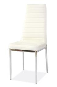Krzesło H-261 biała ekoskóra/chrom signal