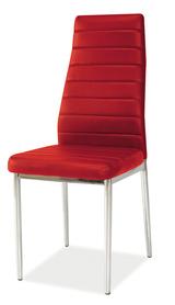 Krzesło H-261 czerwona ekoskóra/chrom signal