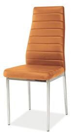 Krzesło H-261 pomarańczowa ekoskóra/chrom signal