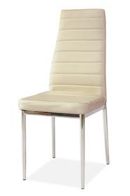 Krzesło H-261 kremowa ekoskóra/chrom signal