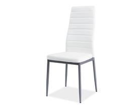 Krzesło H-261 biała ekoskóra/aluminium signal