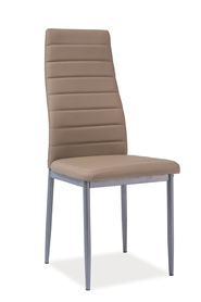 Krzesło H-261 ciemny beż ekoskóra/aluminium signal