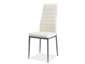 Krzesło H-261 kremowa ekoskóra/aluminium signal