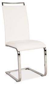 Krzesło na płozach h-334 białe ekoskóra/chrom signal