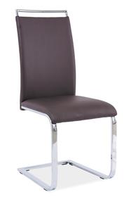 Krzesło na płozach h-334 brąz ekoskóra/chrom signal