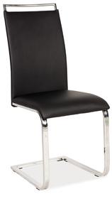 Krzesło na płozach  h-334 czarny ekoskóra/chrom signal