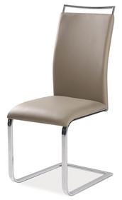 Krzesło na płozach h-334 ciemny beż ekoskóra/chrom signal