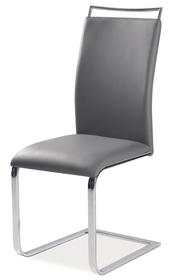 Krzesło na płozach h-334 szare ekoskóra/chrom signal