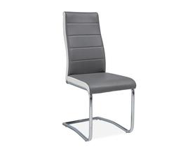 Krzesło H-353 szaro-biała ekoskóra/chrom signal