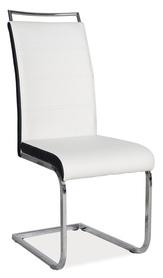 Krzesło na płozach h-441 białe/czarne boki signal