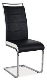 Krzesło na płozach h-441 czarne/białe boki signal