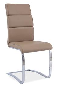 Krzesło h-456 ciemny beż ekoskóra chrom/płozy signal