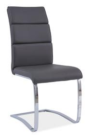 Krzesło płozy h-456 szare ekoskóra chrom/płozy signal