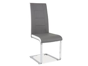 krzesło na płozach h-629 szare białe boki ekoskóra signal