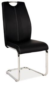 Krzesło płozy h-664 czarne ekoskóra/płozy signal