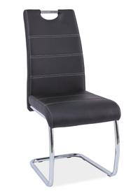 Krzesło na płozach h-666 czarne ekoskóra/płozy signal