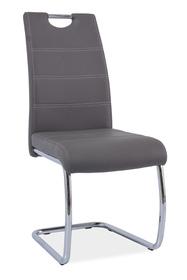 Krzesło na płozach h-666 szare ekoskóra/płozy signal