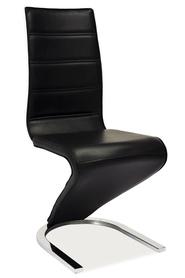 Krzesło na płozach h-669 czarna eko/biały tył mdf/płozy signal