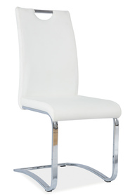 Krzesło na płozach h-790 białe ekoskóra/chrom signal