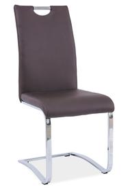 krzesło na płozach h-790 brąz ekoskóra/chrom signal