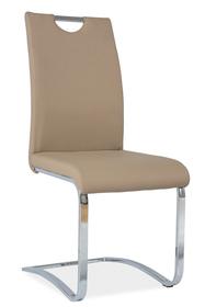 Krzesło na płozach h-790 ciemny beż ekoskóra/chrom signal