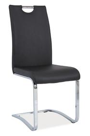 Krzesło na płozach h-790 czarna ekoskóra/chrom płozy signal