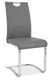 Krzesło na płozach h-790 szara ekoskóra/chrom signal