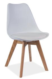 Krzesło Kris białe tworzywo+ekoskóra/drewno dąb signal