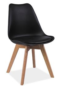 Krzesło Kris czarne tworzywo+ekoskóra/drewno dąb signal