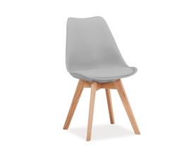 Krzesło Kris jasny szary tworzywo+ekoskóra/drewno dąb signal