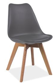Krzesło Kris szare tworzywo+ekoskóra/drewno dąb signal