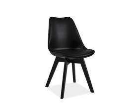 Krzesło Kris II czarne tworzywo+ekoskóra/czarne drewno signal