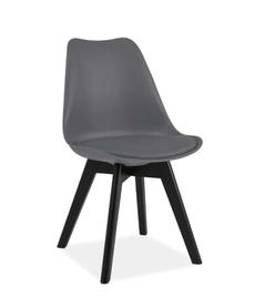 Krzesło Kris II szare tworzywo+ekoskóra/czarne drewno signal