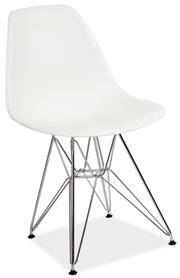 Krzesło Lino białe tworzywo/chrom signal