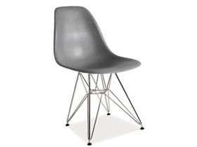 Krzesło lino szare/chrom tworzywo/metal signal