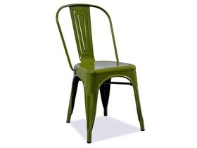 Krzesło loft ciemny zielony/metal signal