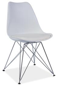 Krzesło Tim białe tworzywo+ekoskóra/chrom signal