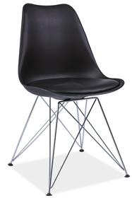 Krzesło Tim czarne tworzywo+ekoskóra/chrom signal