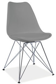Krzesło Tim szare tworzywo+ekoskóra/chrom signal