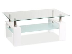 Ława Lisa basic II transparentne szkło hartowane/biały lakier MDF signal