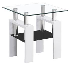 Ława Lisa D transparentne+czarne szkło hartowane/biały lakier MDF signal