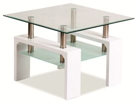 Ława Lisa D basic transparentne szkło hartowane/biały lakier MDF signal