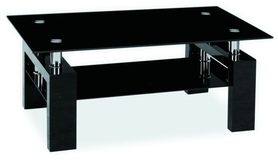 Ława Lisa II czarne szkło hartowane/czarny lakier MDF signal