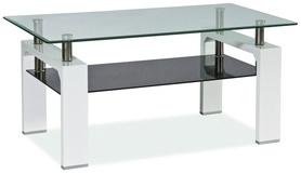 Ława Lisa II transparentne+czarne szkło hartowane/biały lakier MDF signal