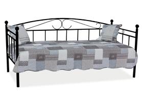 Łóżko, leżanka ankara czarna/metal 90x200 signal