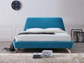 Łóżko sypialniane Gant turkus tkanina 160x200 signal