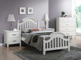 Łóżko sypialniane Lizbona białe drewno+mdf 90x200 signal