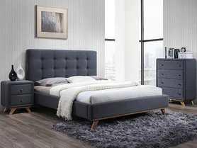 Łóżko sypialniane Melissa szara tkanina/dąb drewno 160x200 signal