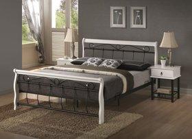 Łóżko sypialniane venecja biało-czarne 160x200 drewno+metal signal