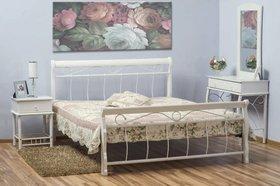 Łóżko sypialniane venecja białe 160x200 drewno+metal signal